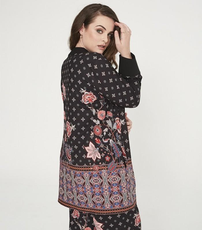 Long printed kimono with valance and long sleeves