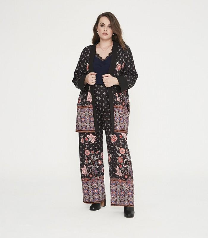 Kimono largo estampado con cenefa y manga larga