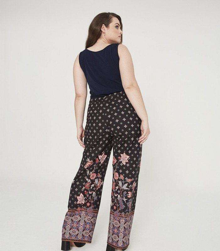 Long palazzo-style trousers with border print