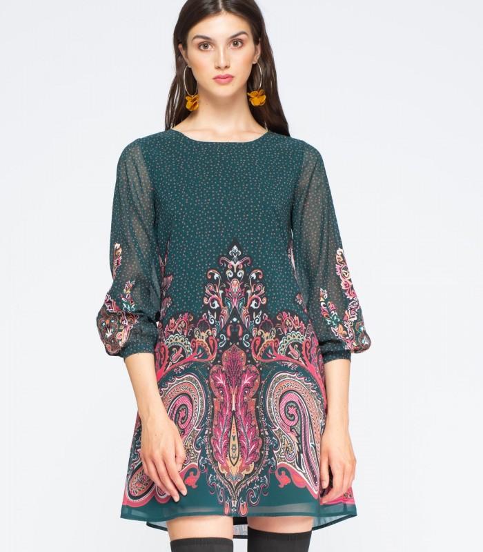 Vestido estampado detalle bordado y manga abullonada