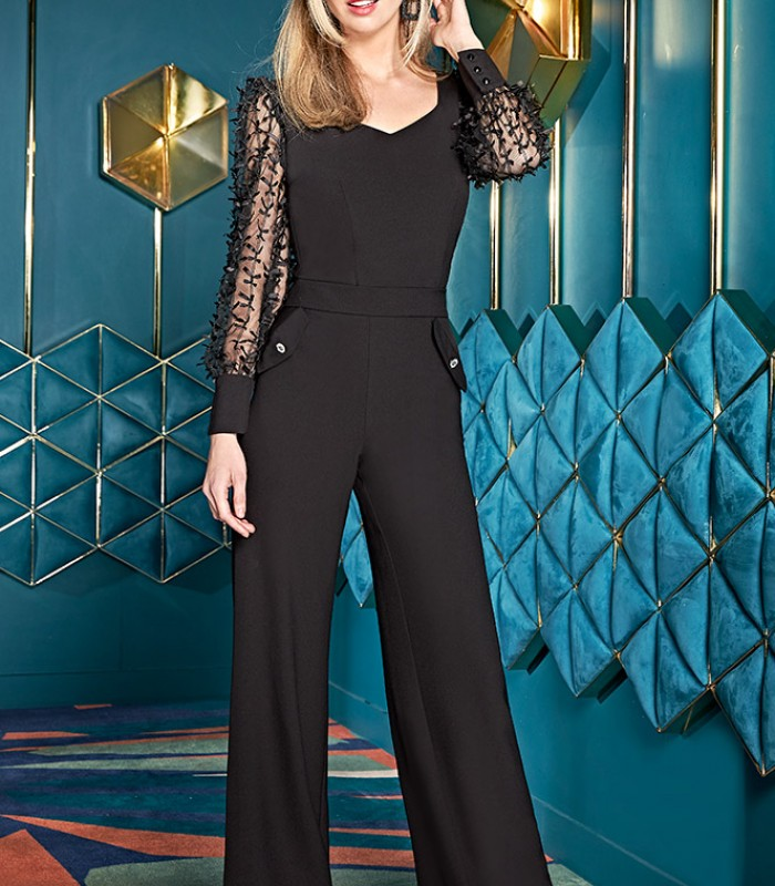 Set of straight pants and top with transparent sleeves