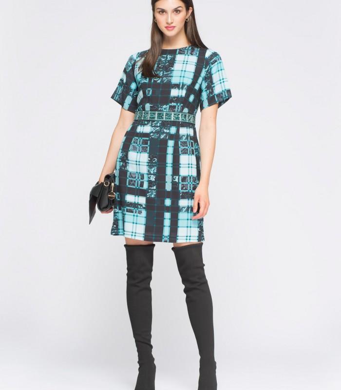 Vestido corto con bordado en cintura a cuadros