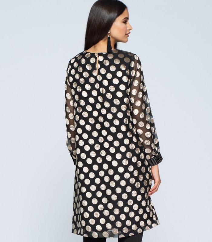 A-line dress with gold polka dots
