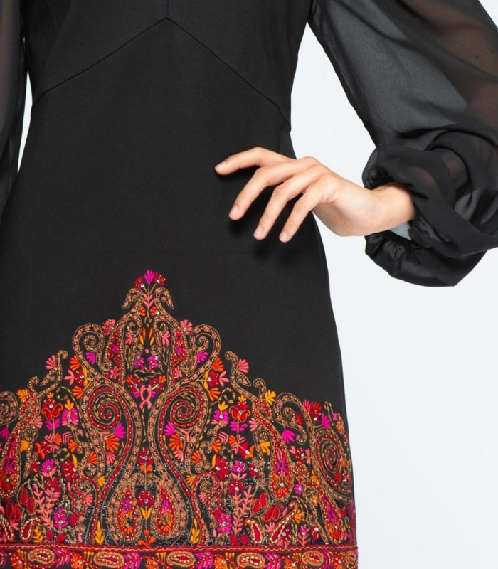 Printed and embroidered dress with illusion neckline