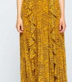 Long sleeveless zebra print dress with ruffles