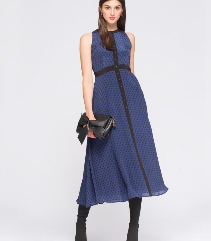 Midi dress with polka dot print on blue background