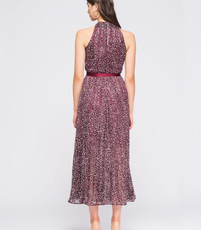 Lurex animal print midi dress with halter neckline