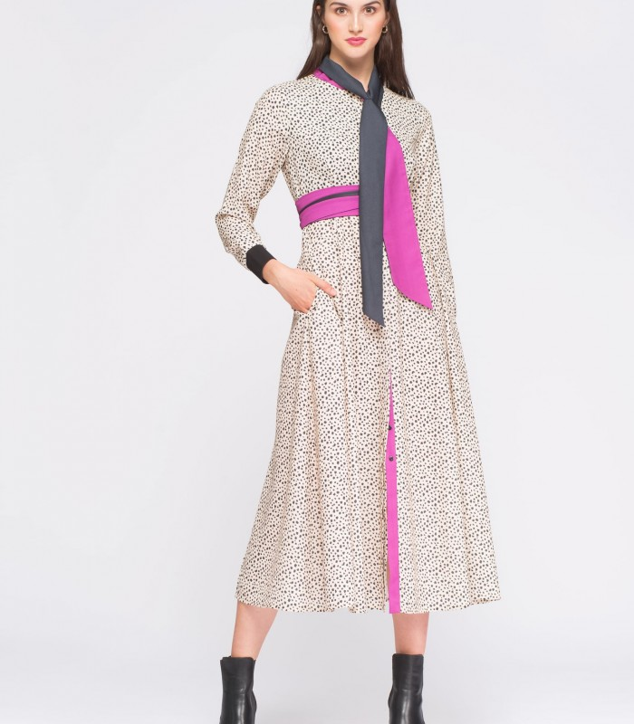 Vestido largo de estampado animal print y manga larga