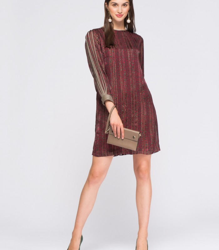 Short and straight dress with animal print and lurex print