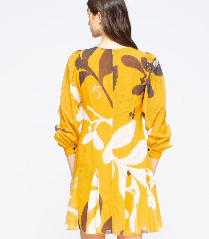 Short yellow dress with print and puff sleeves