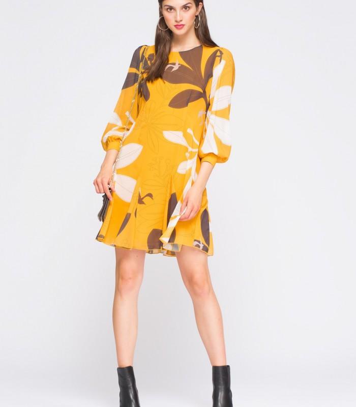 Vestido corto amarillo con estampado y manga abullonada