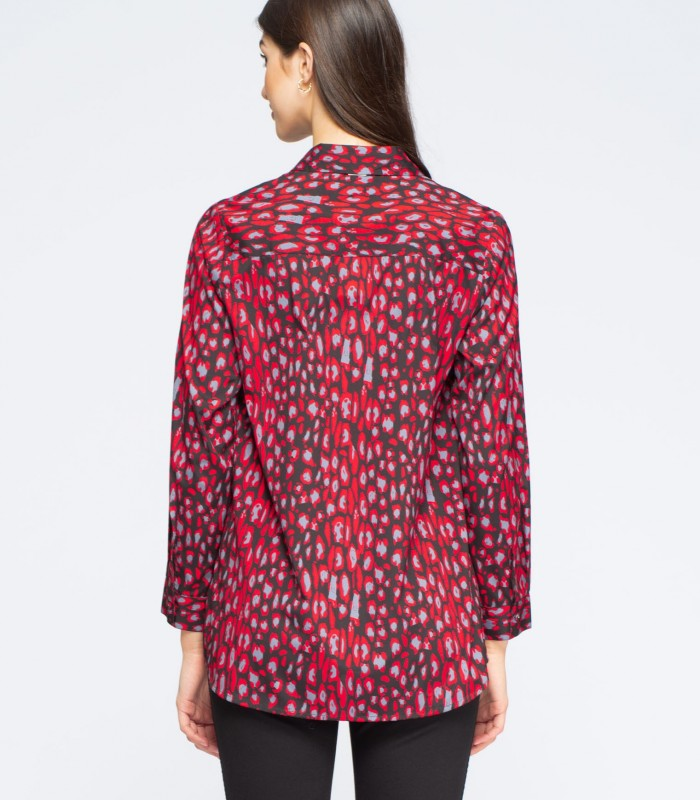 Long sleeve blouse with animal print and stripes