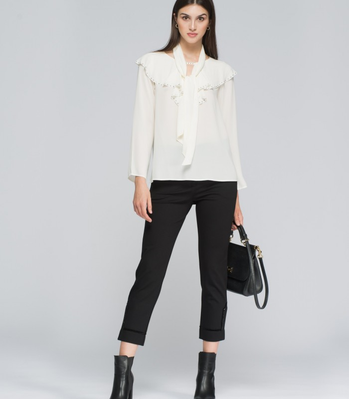 Long sleeve blouse with ruffles and Swarovski details