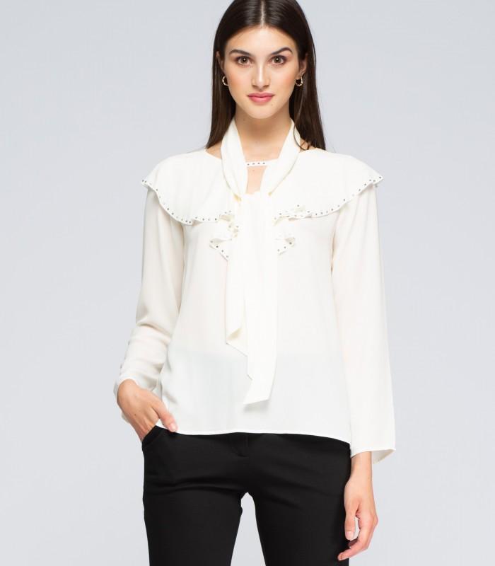 Blusa manga larga con volantes y detalles de Swarovski