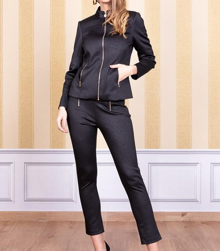 Straight pants and zip jacket set