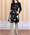 Patent leather trench coat with tie waist