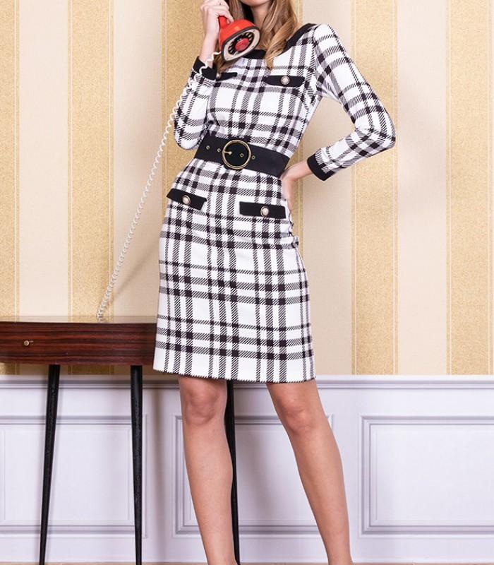 Short tartan print dress with belt included