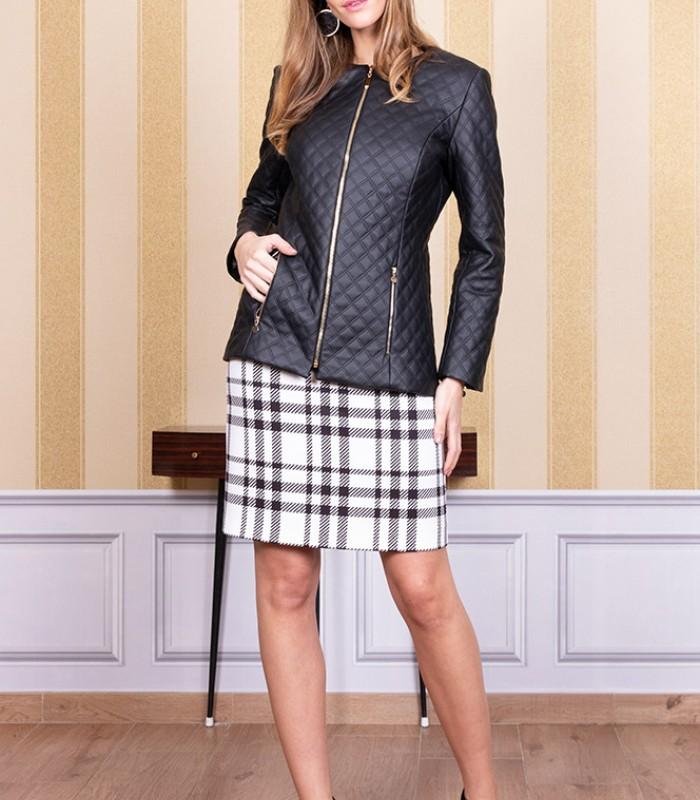 Round neck zip-up jacket with plaid pattern