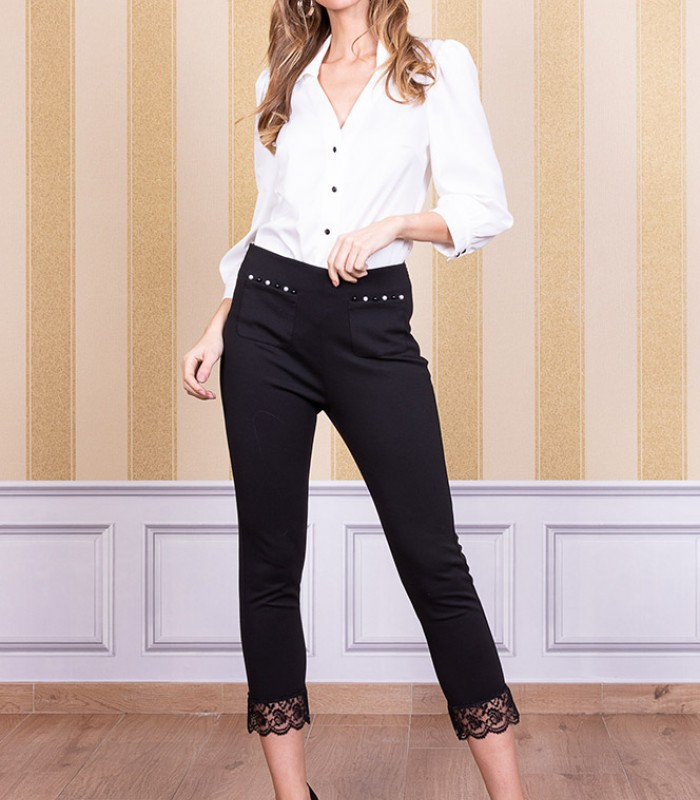 V-neckline blouse with buttons in the center and sleeves