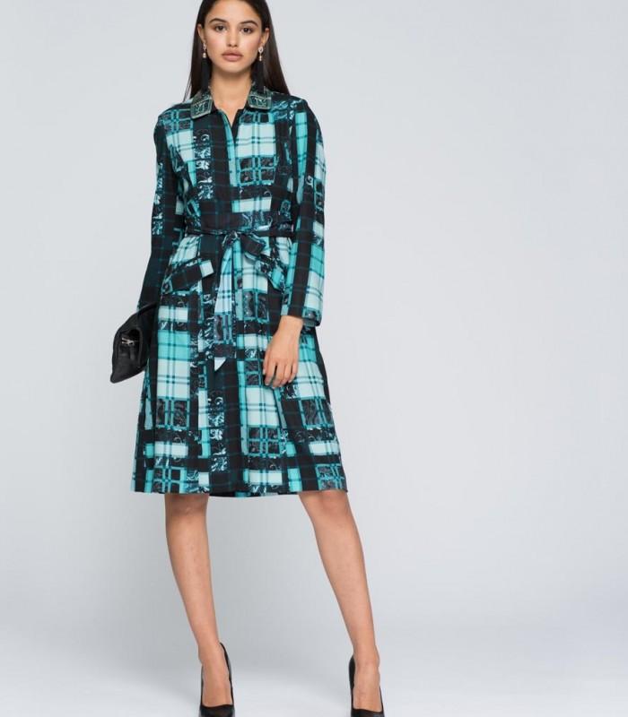 Vestido estampado geométrico con bordados y manga larga