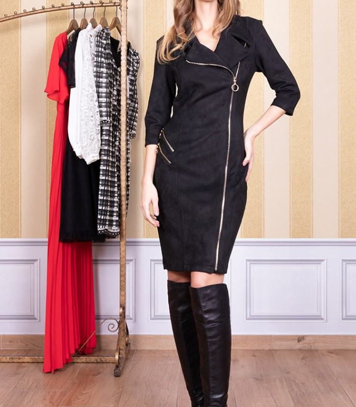 Lapel dress with zip in the center and on one side