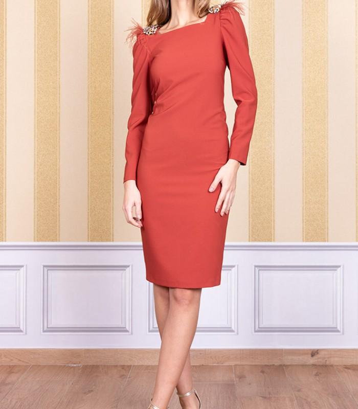 Short gigot sleeve dress with shoulder details