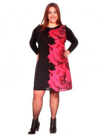 Vestido negro corto con mangas largas y estampado de rosas