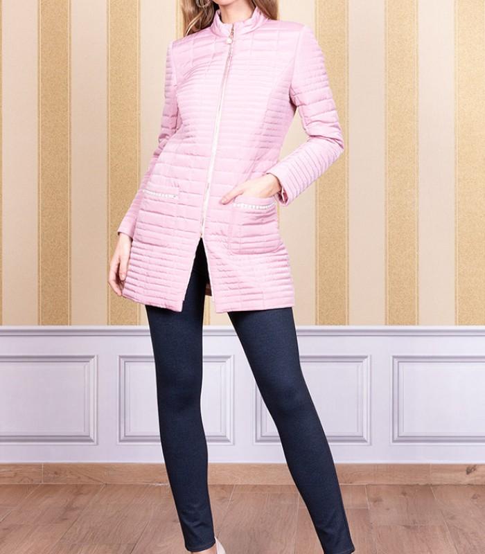 Long line pattern zip coat