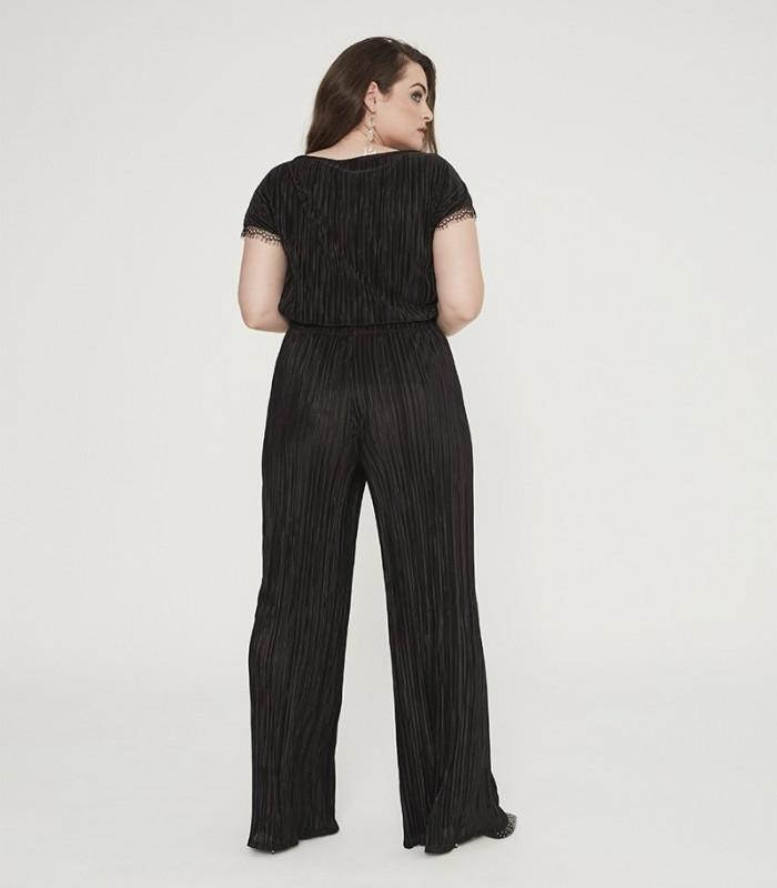 Conjunto blusa y pantalón palazzo plisado con cinturilla elástica