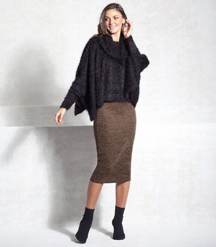 Fur poncho sweater with turtleneck