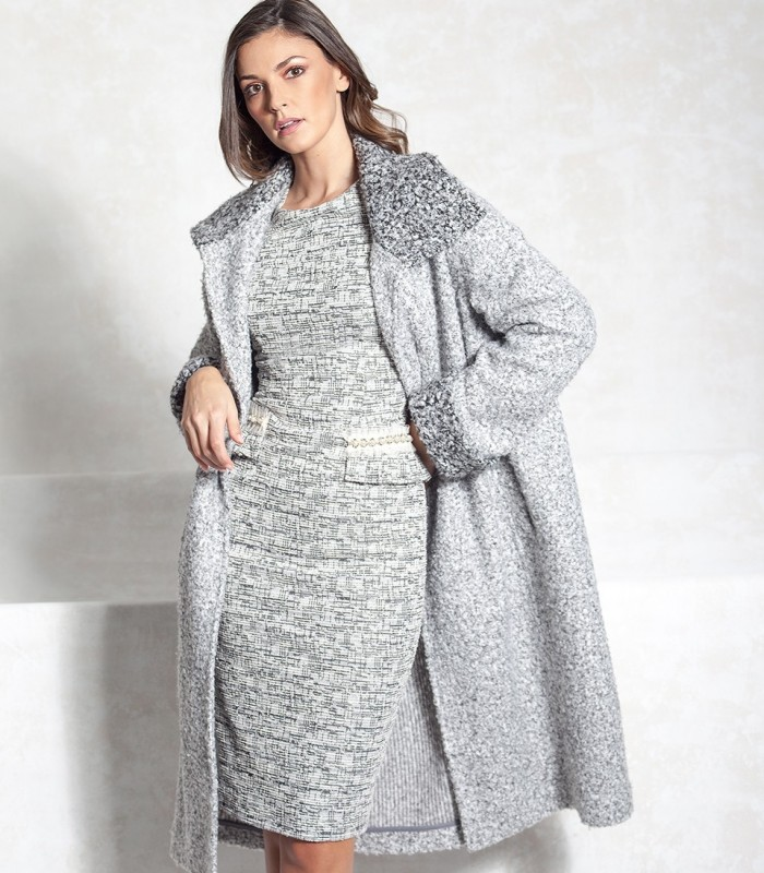 Midi cloth coat with two types of print