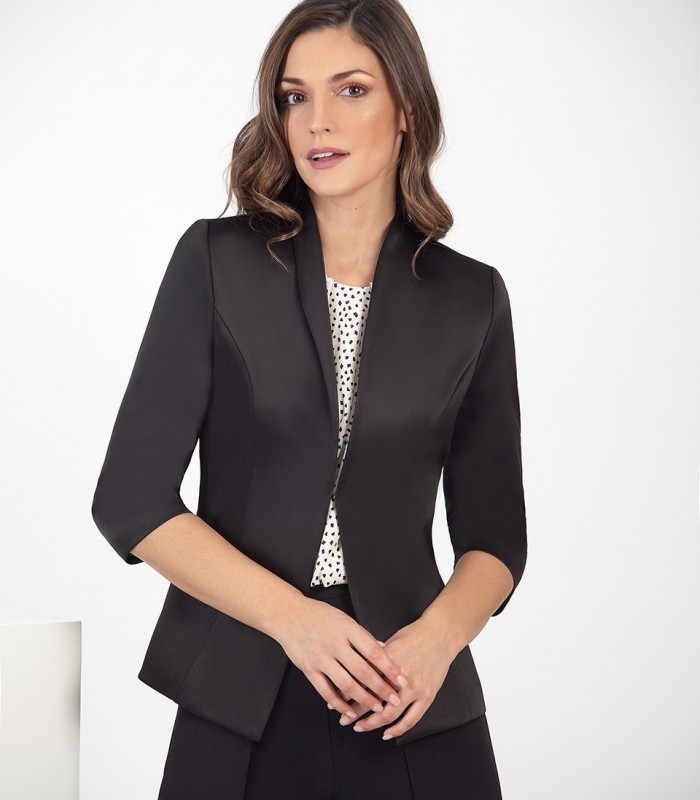 Satin jacket with V-neckline and French sleeves
