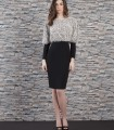 Plain dress with printed fur top and gigot sleeves