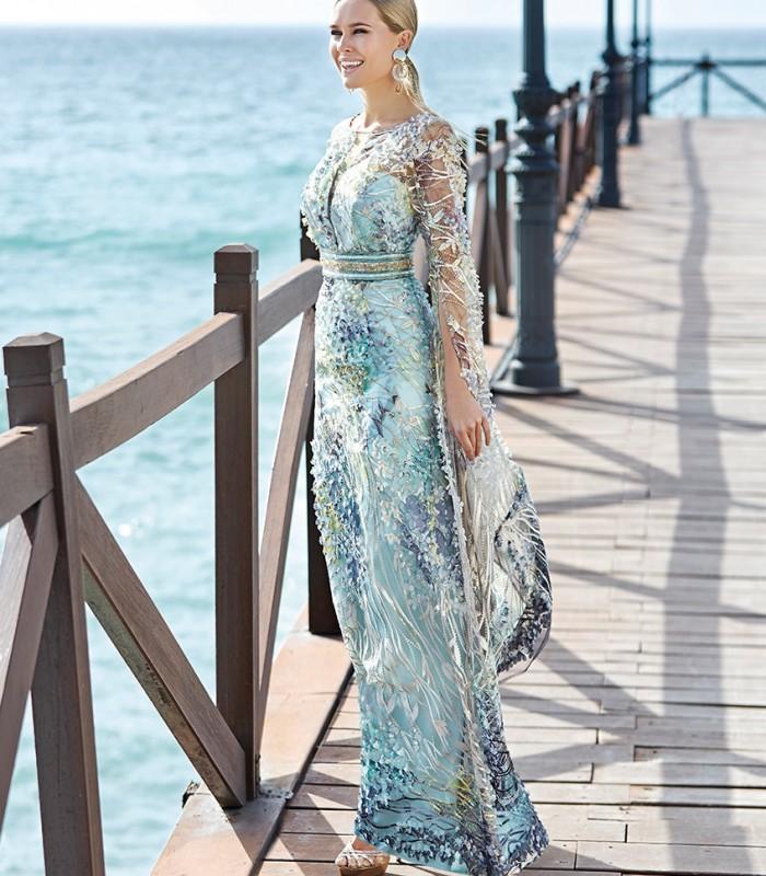 Sonia Peña aqua green couture maxi dress