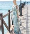 Vestido largo couture verde agua Sonia Peña