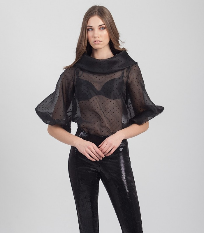 Sheer blouse with polka dot pattern and bardot neckline
