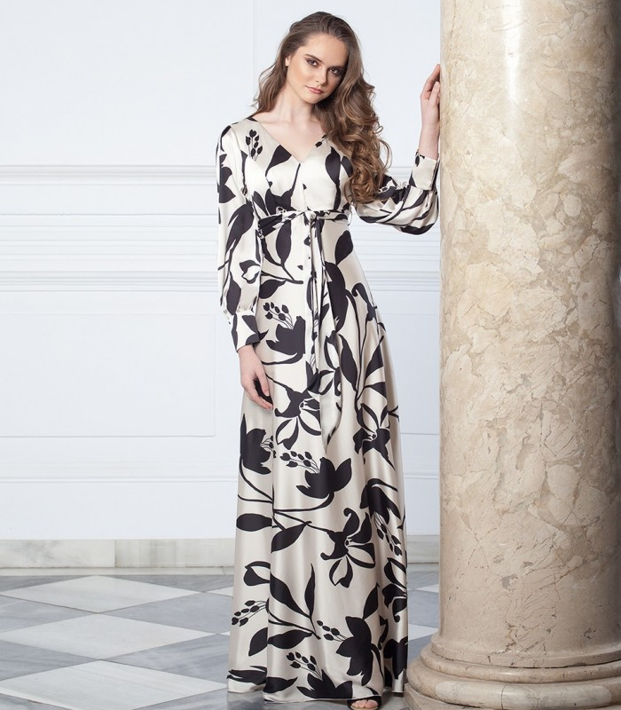 Long floral print dress with tie and gigot sleeves