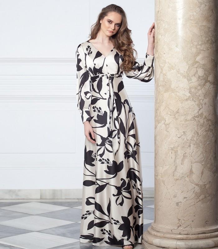 Vestido largo de estampado floral con lazada y manga gigot