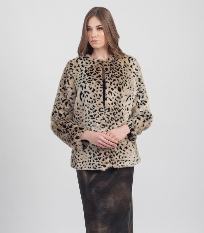 Fur jacket with animal print