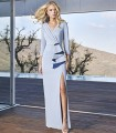 Long dress with wrap neckline with ruffles and side slit
