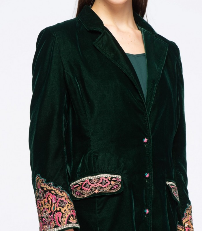 Blazer fino terciopelo bordado en bolsillos y puños