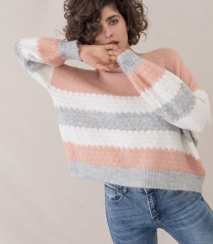 Jersey de escote redondo con patrón de rayas tricolor