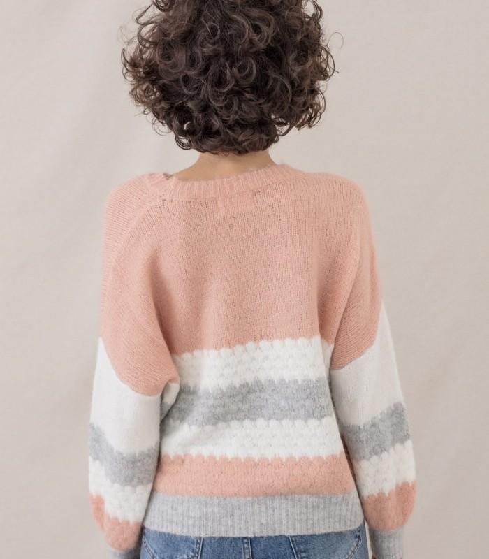 Round neck jumper with tricolor stripe pattern