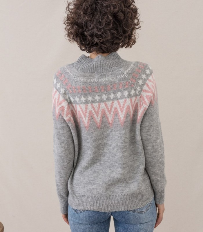 Turtleneck sweater with two-color print