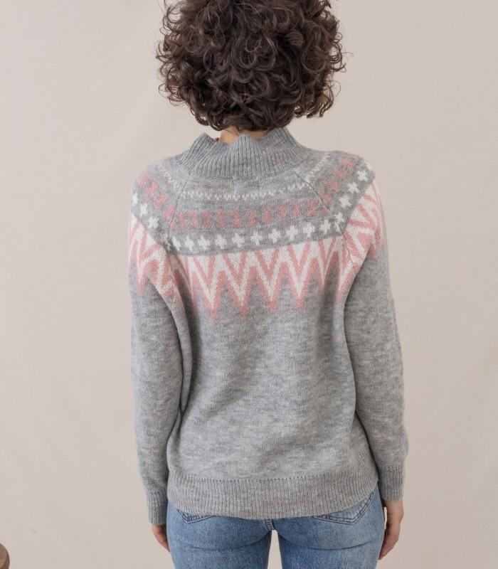 Jersey de cuello alto con estampado bicolor