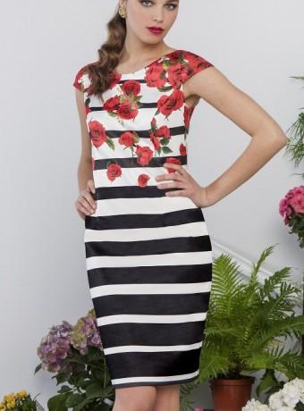 Vestido de rayas y estampado floral