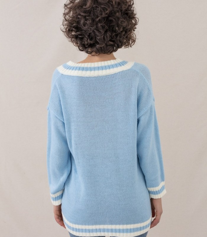 Striped print V-neck knit sweater