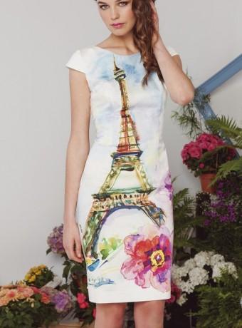 Vestido elástico estampado torre eifel