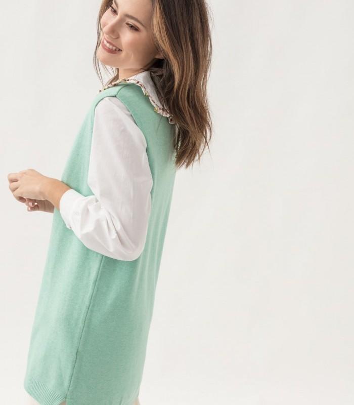 Fur-effect knit vest with side slits