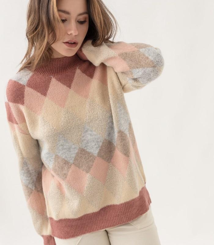 Diamond print off shoulder sweater